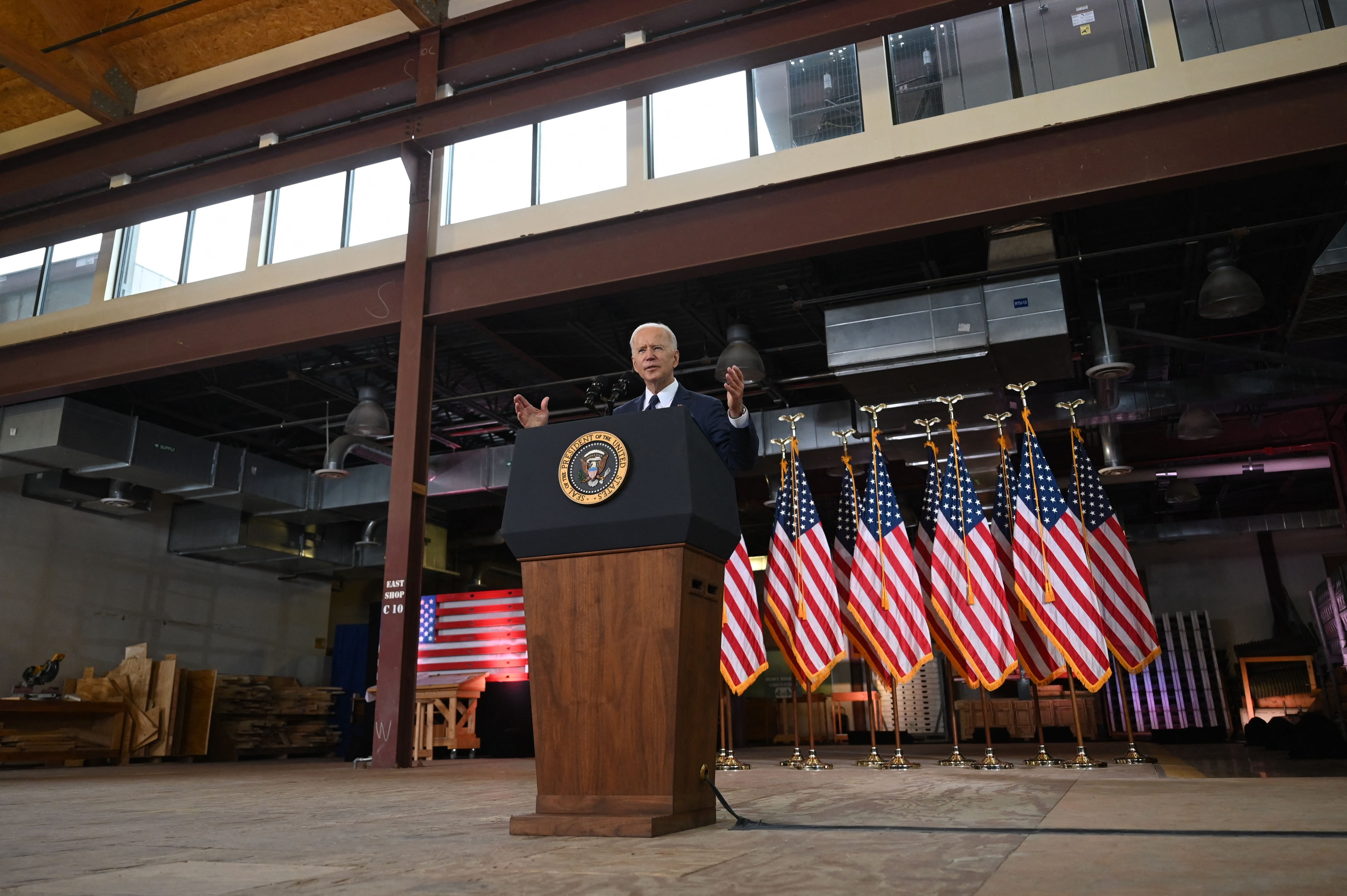 President Joe Biden unveils his infrastructure plan in Pittsburgh on Wednesday.