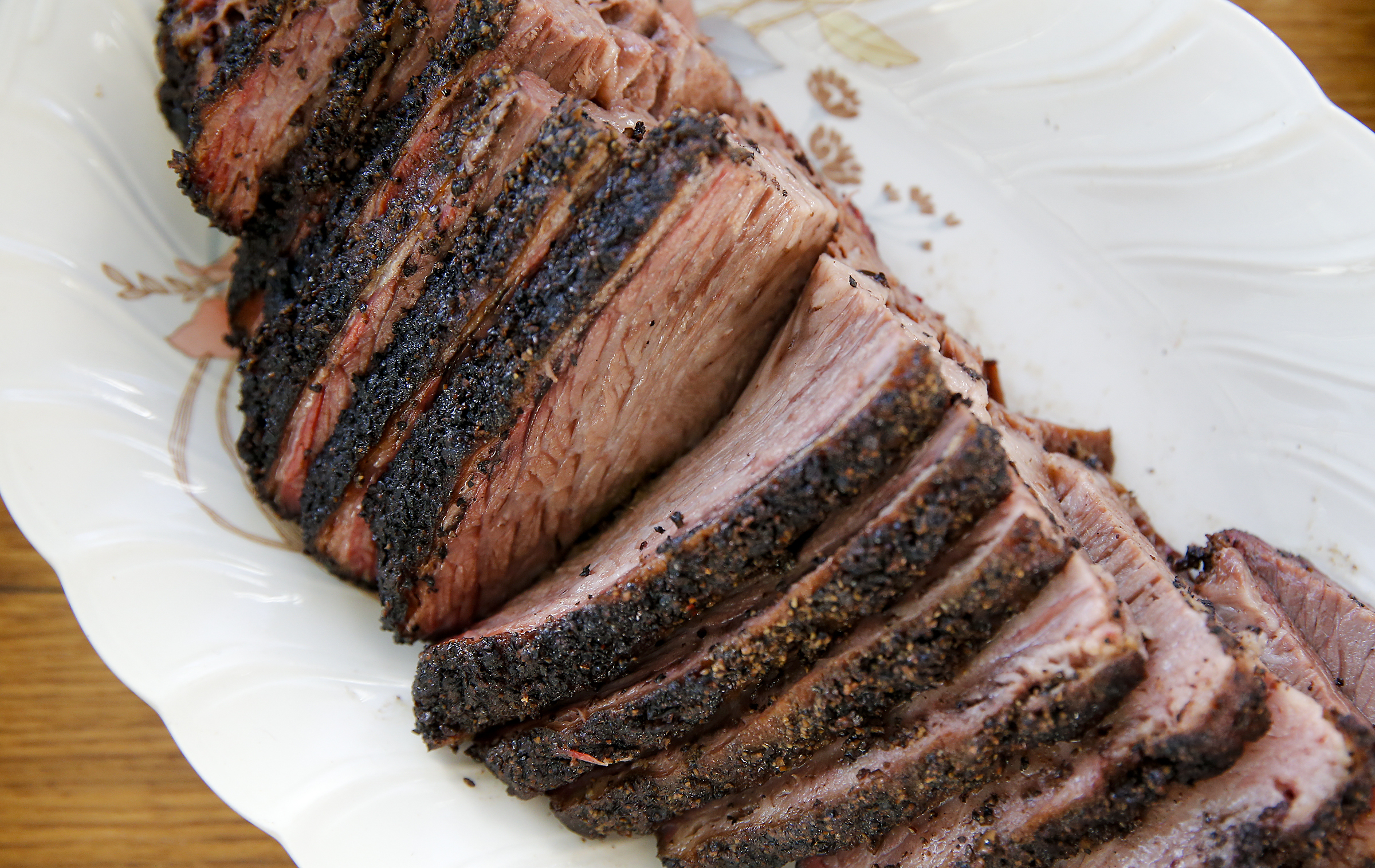The Central Texas Style Smoked Brisket smoked by Scott Hanson at Cadence Restaurant in the Fishtown section of Philadelphia on Monday, March 15, 2021. Hanson, a Texas BBQ pit master is opening a barbecue pop-up with a Tex-Mex twist at Cadence Restaurant.