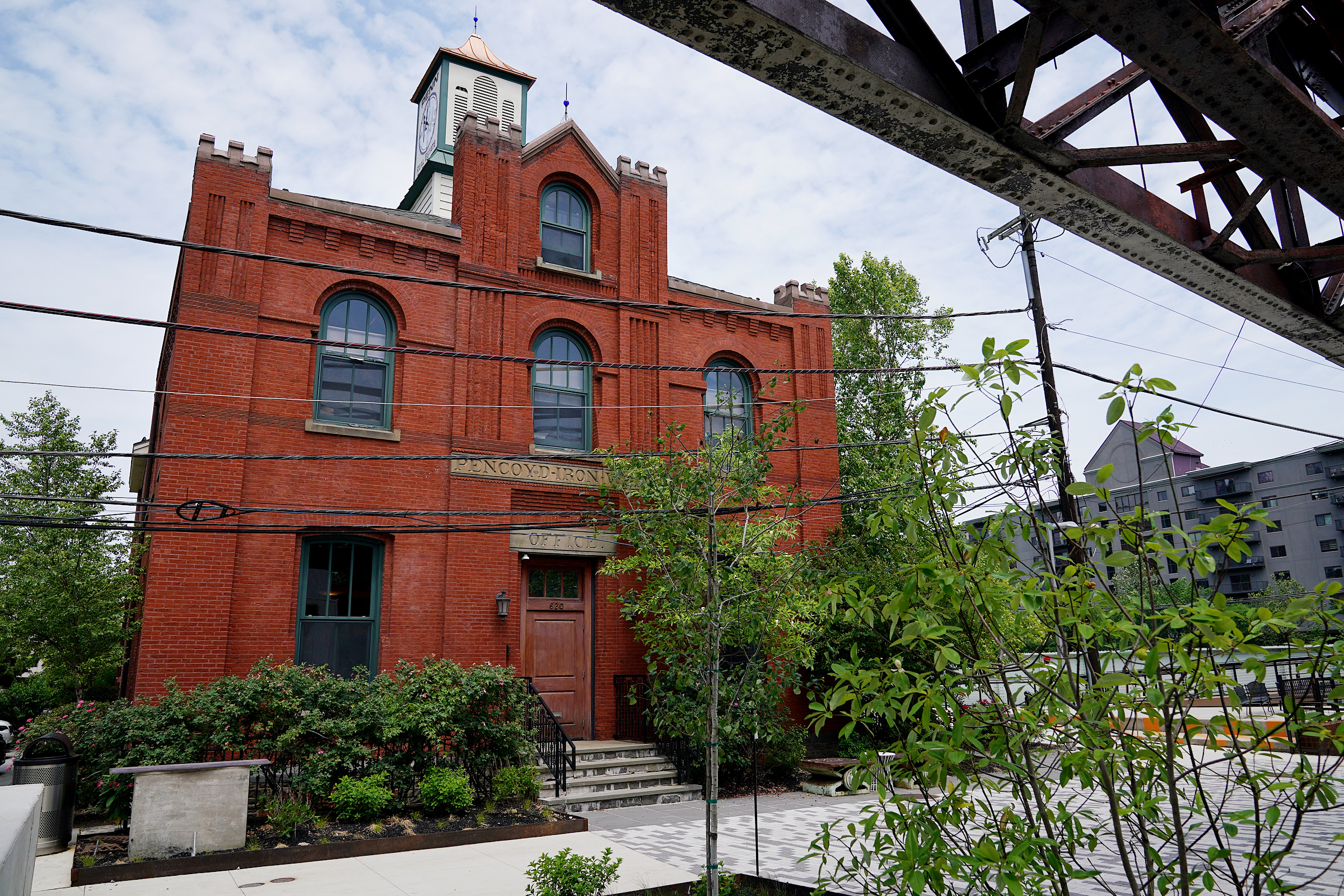 Donna Galvin moved her company's headquarters into the former offices of the Pencoyd Iron Works. Built in 1873, the charming red-brick building may have been designed by Frank Furness.