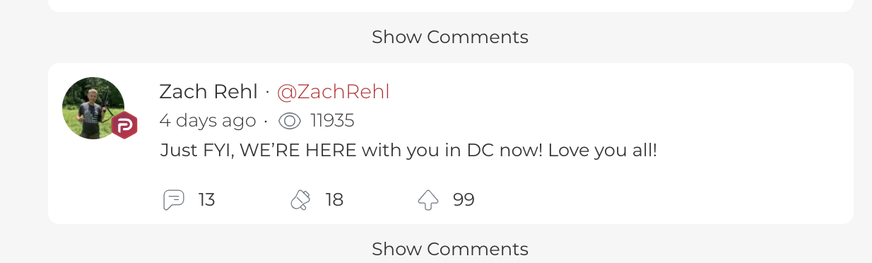 A screen shot from an archive of Zach Rehl's account on the social media site Parler, which is favored by conservatives.