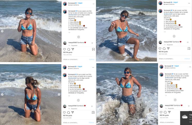 """Fernanda Vives posaba """"sexy y atrevida"""" hasta que una ola la bañó"""