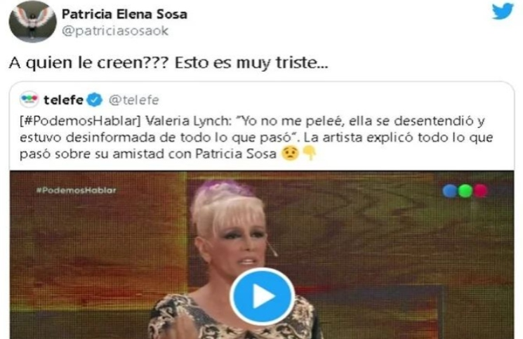 El tuit de Patricia Sosa, mientras Valeria Lynch estaba en PH, Podemos Hablar