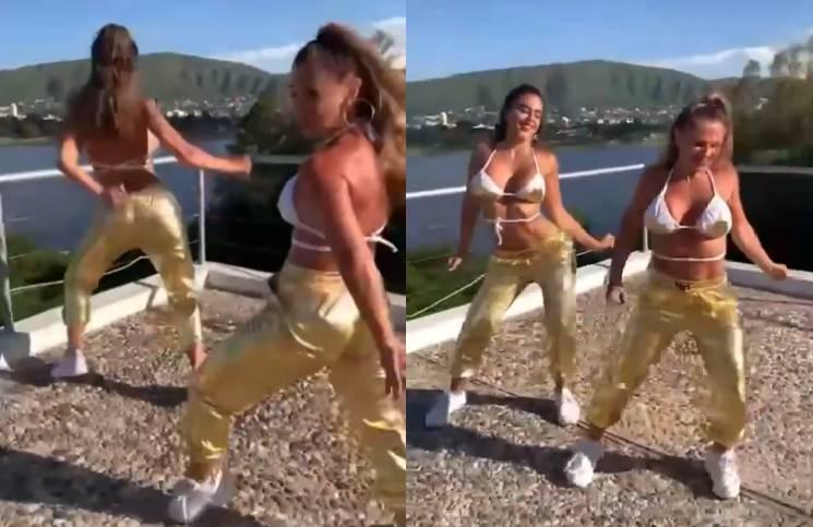 Celeste Muriega bailó con un look dorado.