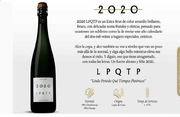 """Se viraliza vino espumante LPQTP 2020, para brindar y despedirse de este año """"nefasto"""""""