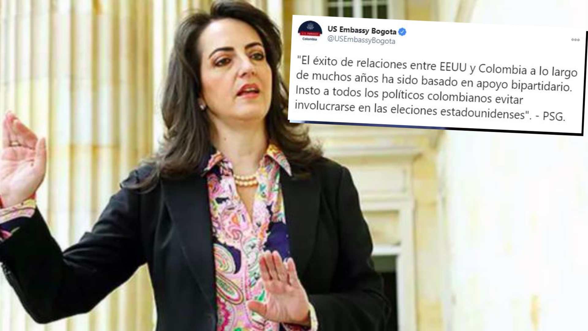 María Fernanda Cabal responde al polémico trino del embajador de EE.UU.