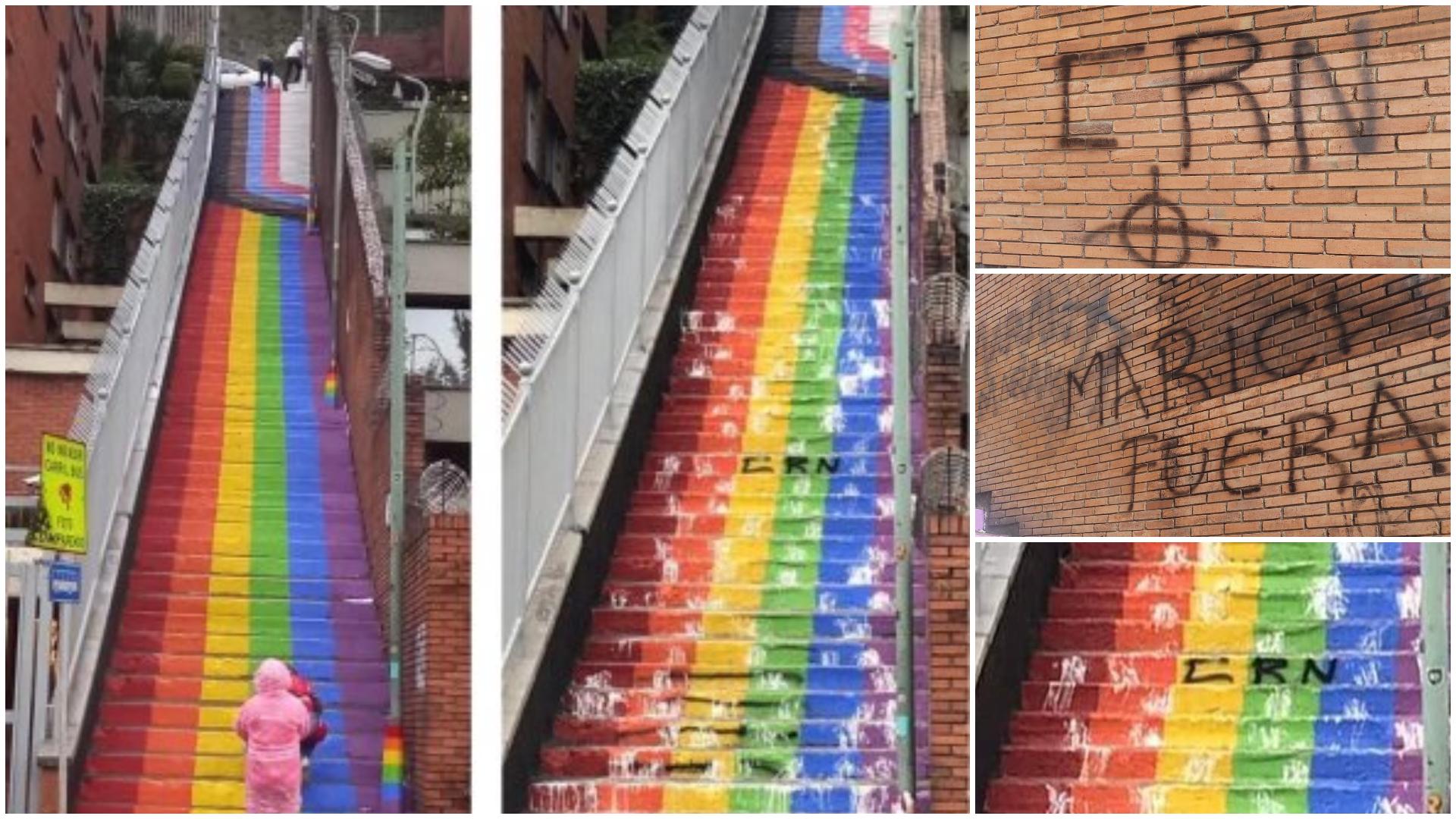 Quiénes están detrás? Denuncian mensajes discriminatorios en escalera con  colores LGBTIQ+ en Bogotá