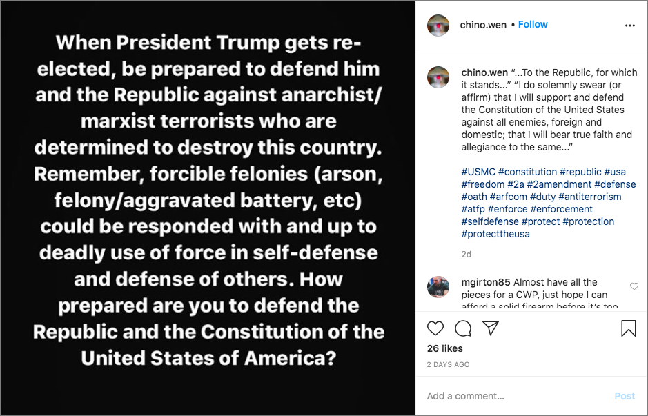 In a post Sunday, an Instagram account associated with Pasco County Sheriff's deputy Jesse Francis urged people to be prepared to take up arms after the 2020 presidential election. Francis is now the subject of an internal investigation. [Instagram]