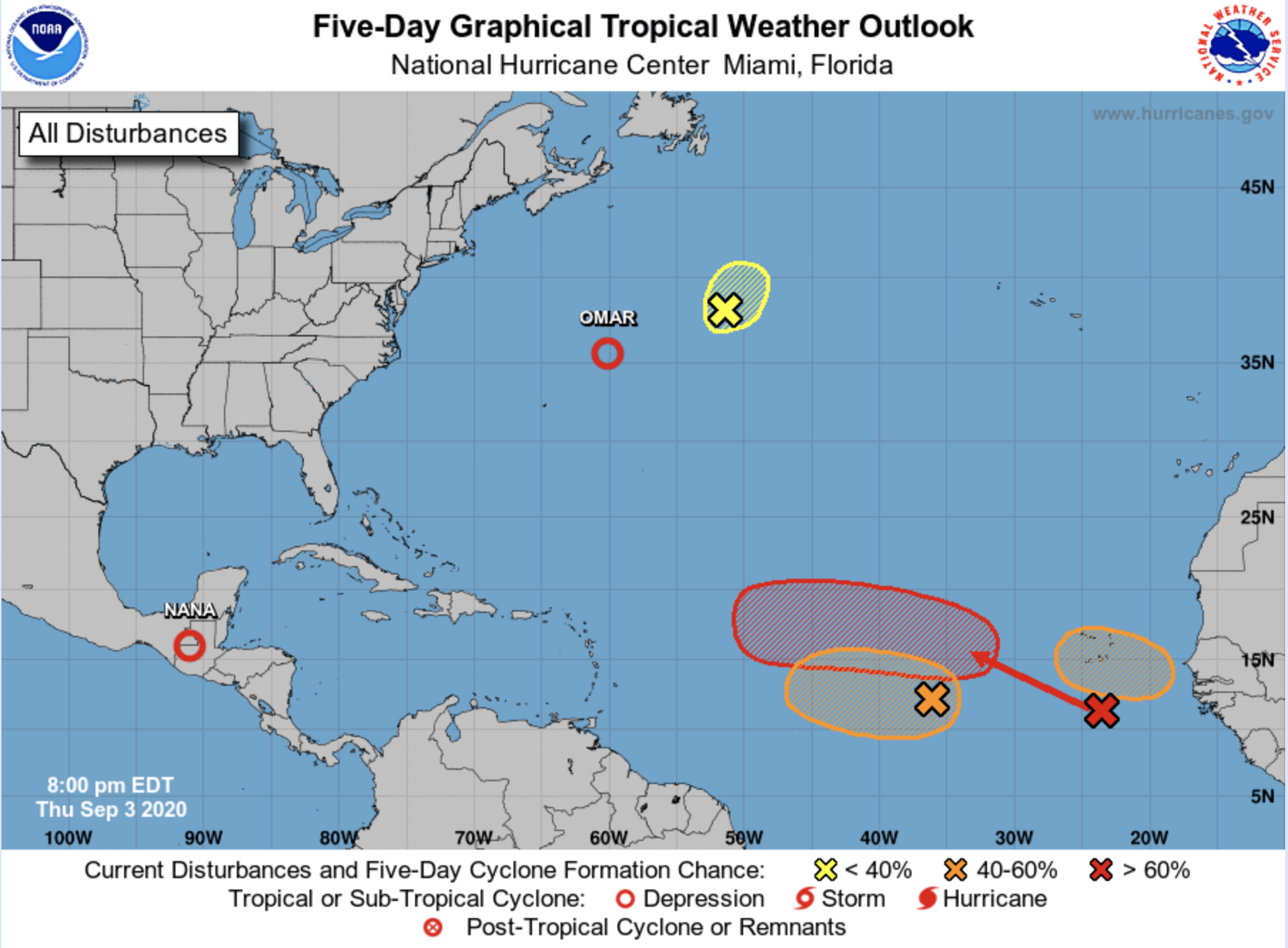 Four Potential Cyclones Linger In The Atlantic And One Has A 70 Percent Chance Of Formation